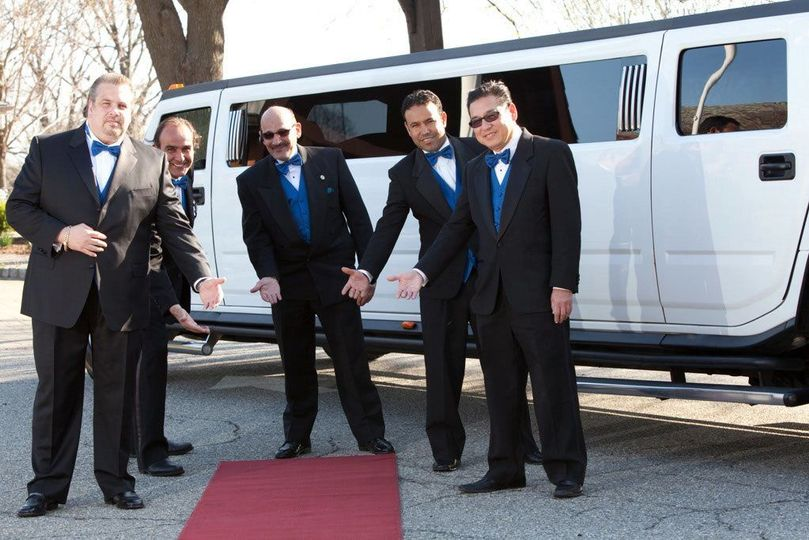 Groom and groomsmen by the limo