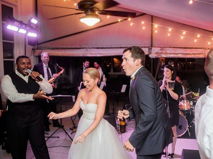 Newlyweds being serenaded