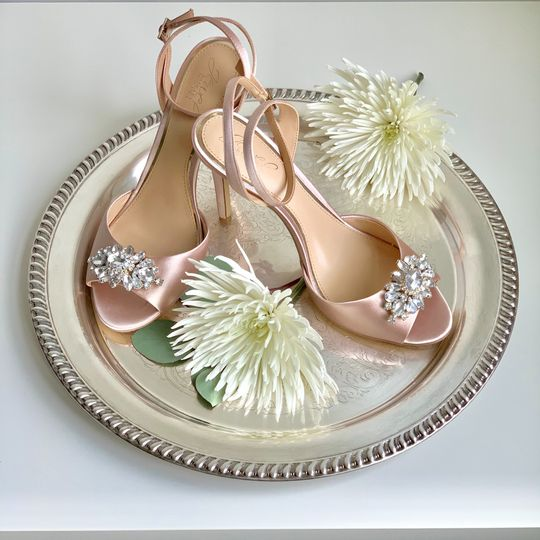 Bridal Shoes on Silver Tray
