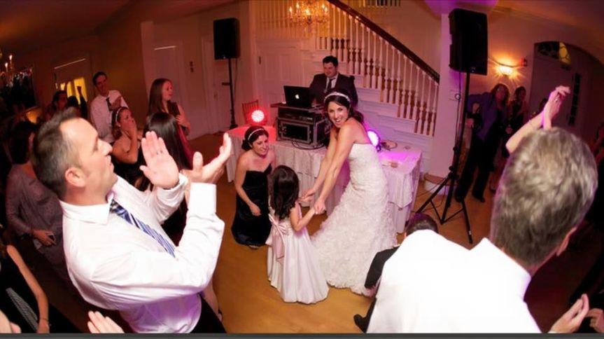 Bride and kids dancing