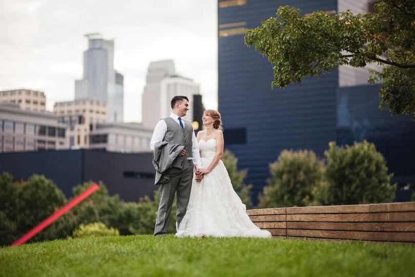 Bride and groom downtown Minneapolis, Minnesota
