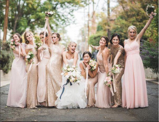 Fun bride and bridesmaids