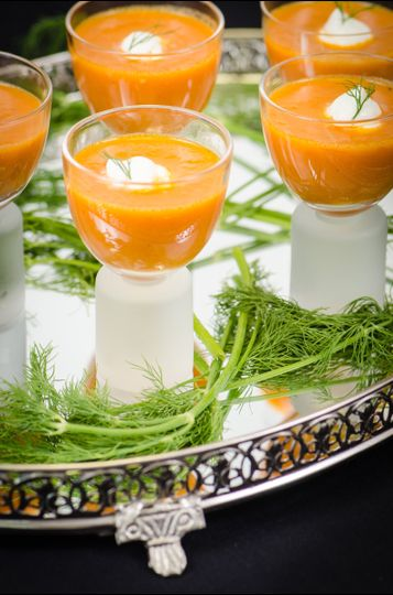 Lobster Bisque with a dab of Crème Fresh and Sprig of Dill