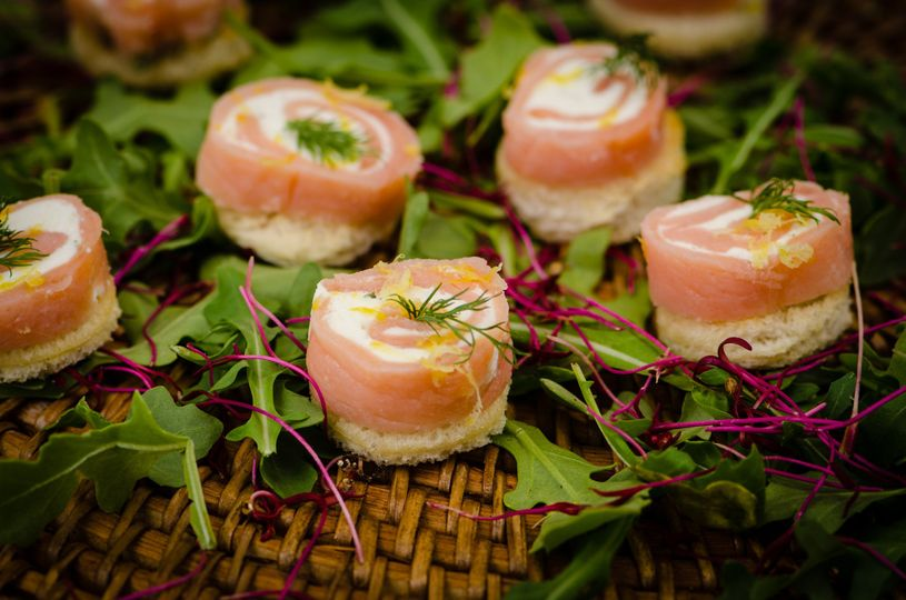 Salmon & Cream Cheese Round on a Crostini