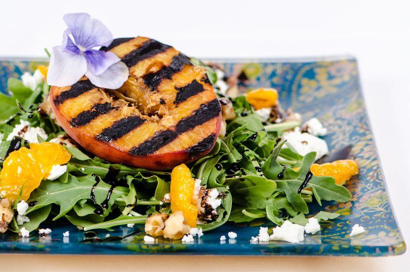 Fresh Grilled Peach Salad with Mixed Greens, Mandarin Oranges, Feta and Balsamic Glaze