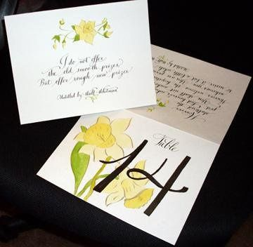 Custom 2 sided table card for wedding with hand painted daffodils