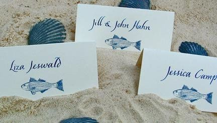 Custom place card with hand designed striper fish.