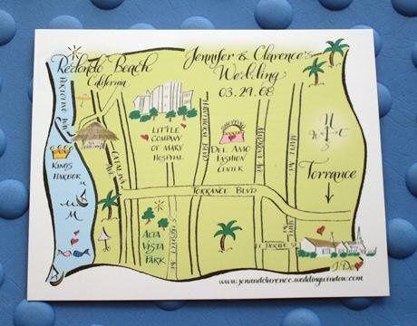 hand designed custom map direction card illustration