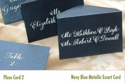 Place card with white ink on dark card/envelope