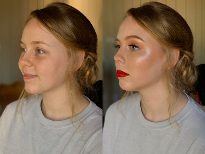 Classic soft glam and red lips