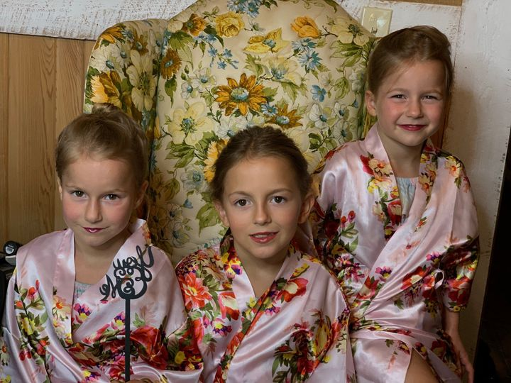 Three little flower girls all in glam