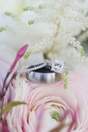 Rings on a flower arrangement