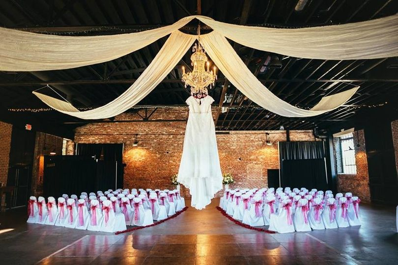 Wedding gown at the ceremony space