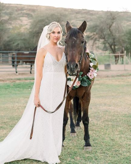 The bride with her horse