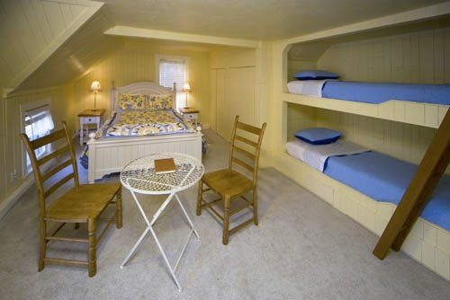 This room has a King bed and built in bunks, sleeps four, private bath with jet-tub.