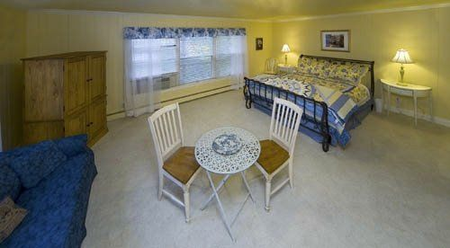 The largest room with a king bed and trundle bed, sleeps four, private bath with jet-tub.