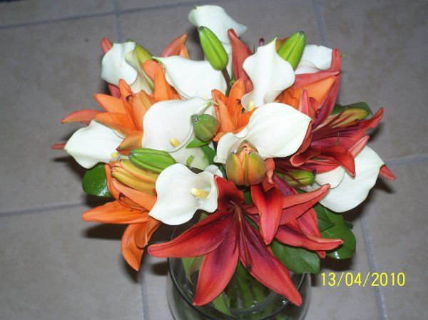 hand tied bouquet of lilies