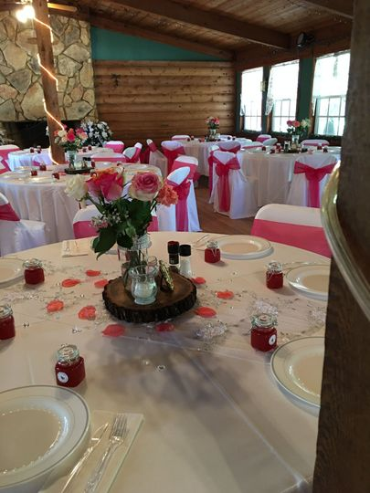 Round table setup with centerpiece