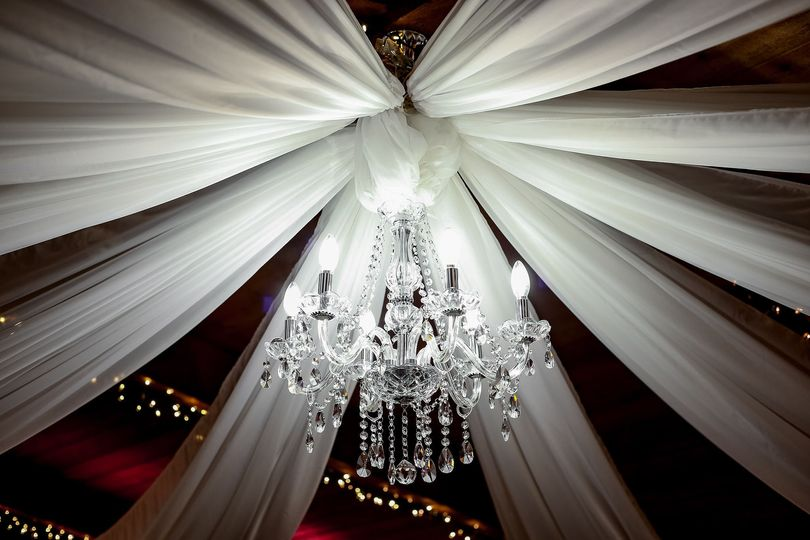 Chandelier in banquet hall