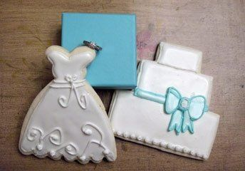 Sugar cookie wedding cake and dress. These cookies make a wonderful Thank you presentation that each...