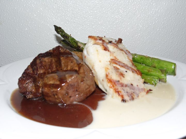 Filet of Beef w/ Demi Glace, Chicken w/ White Wine Cream, Roasted Asparagus with Garlic Mashed...