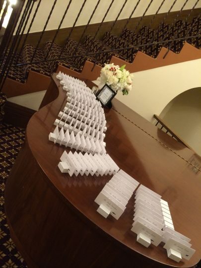 Escort cards displayed on piano