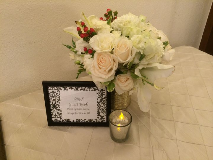 Black & White signage for Guest Book picture with flowers