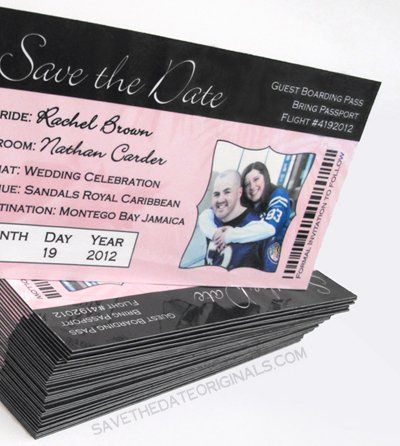 Boarding pass save the date magnet design for a 6.75x3.75 inch magnet.