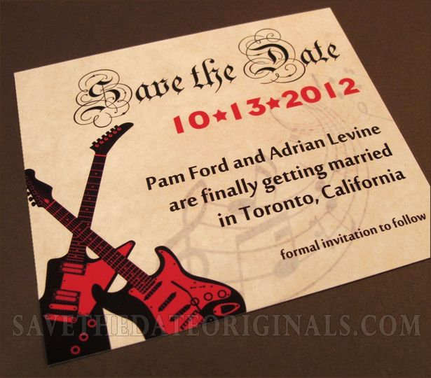 Rock'n'Roll save the date magnets.