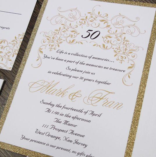 Glitter layered invitation