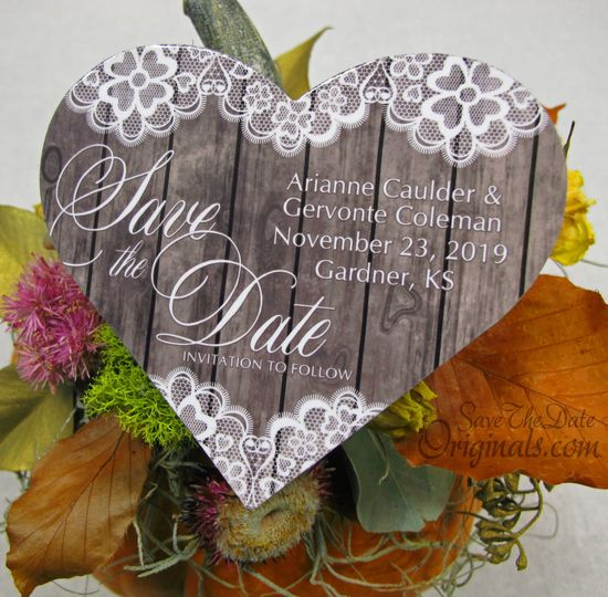 Rustic wood&lace save the date