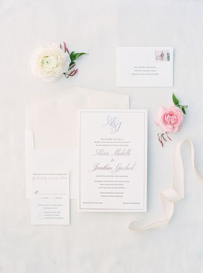 Letterpress and Rose Gold Foil Wedding Invitation Suite