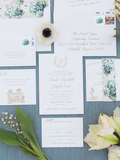 Letterpress, Gold Foil and custom succulent & floral band wrap