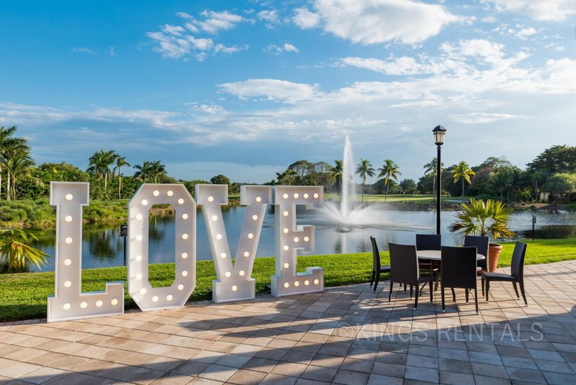 Marquee LOVE Sign with white soft lights.  This sign is a huge 6' high by 20' wide.  This is...