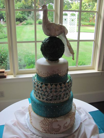 Wedding cake with blue layer