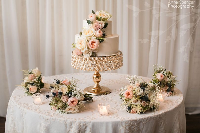 Wedding cake and floral decor