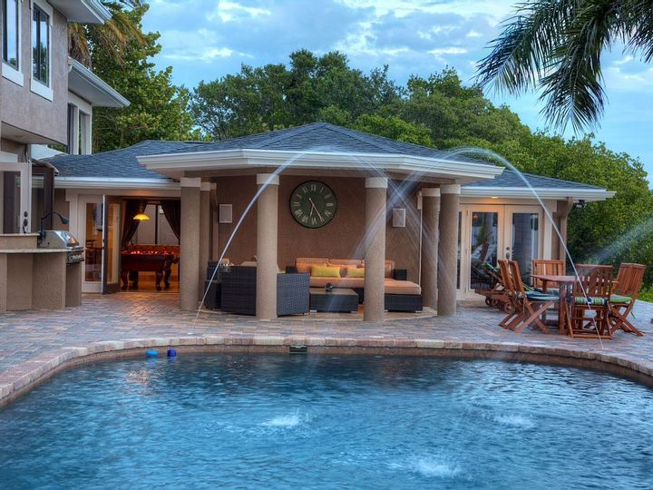 Poolside lounging area