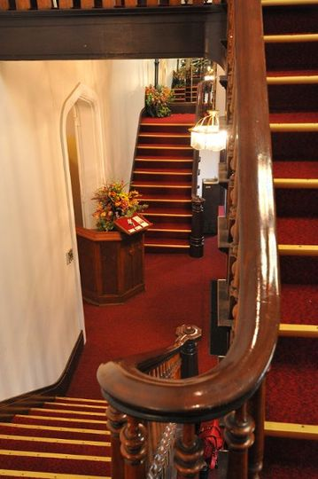 Double Staircase in the foyer of The Olde North Chapel