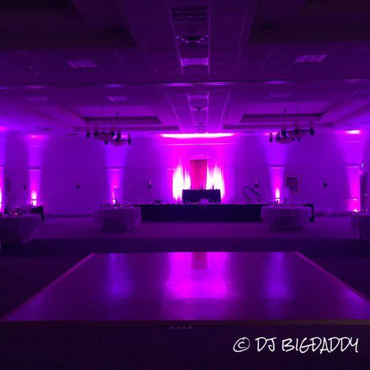 Up-lighting ballroom area