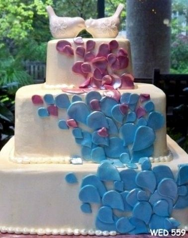 Wedding cake with bits of colors