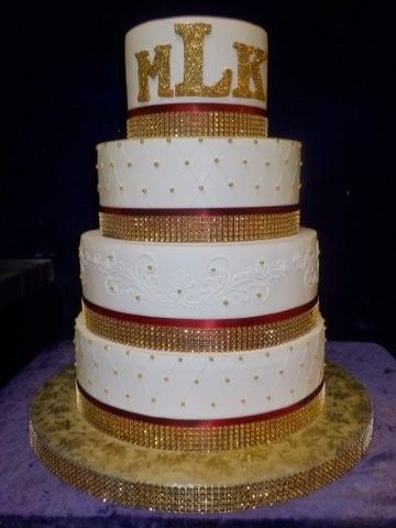Wedding cake with red and gold
