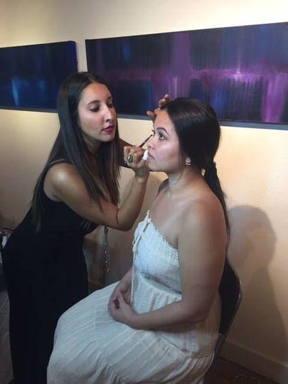 Bride with make up artist