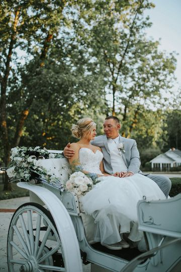 Newlyweds on a chaise