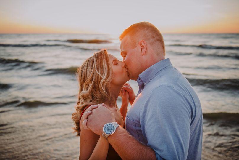 Romantic beach engagement.