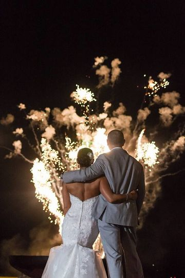 Overlooking the fireworks | Gown: Casablanca