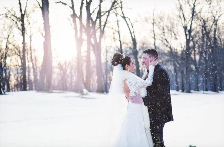 Snow day wedding | Gown: Casablanca