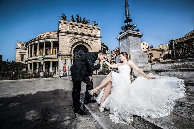 Newlyweds in Italy | Gown: Casablanca Customized