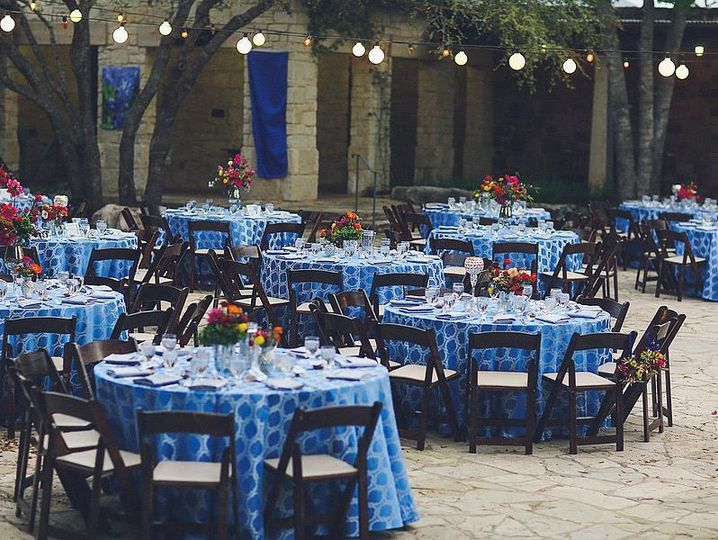 Table setup with blue dining