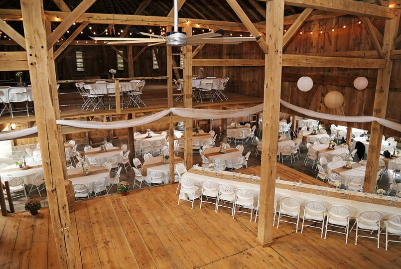 Reception set-up in a barn