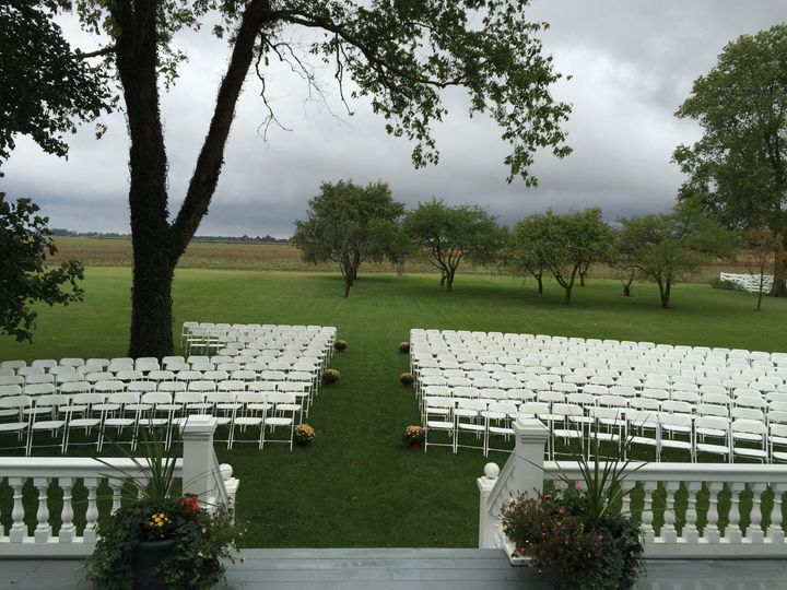 Ceremony set-up in the gardens